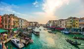 Panoramic view of famous Canal Grande from famous Rialto Bridge in Venice, Italy