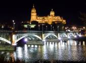 Historic city of Salamanca at night, Castilla y Leon, Spain