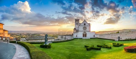 Basilica of St. Francis of Assisi at sunset, Umbria, Italy