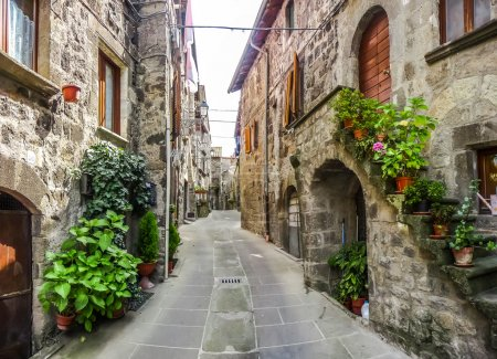 Beautiful alleyway in the historic town of Vitorchiano, Lazio, Italy
