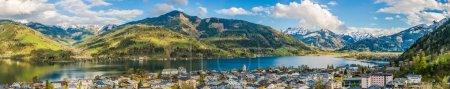 Mountain landscape with Zeller Lake in Zell am See, Austria