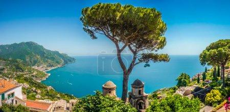 Amalfi Coast from Villa Rufolo gardens in Ravello, Campania, Italy