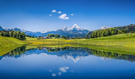 Photo for Panoramic view of idyllic summer landscape in the Alps with clear mountain lake and fresh green mountain pastures in the background - Royalty Free Image