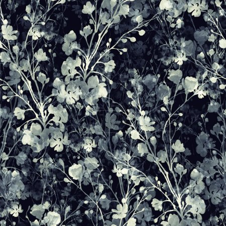Photo pour Estampes monochromes aquarelle de branches fleuries - motif sans couture dessiné à la main - illustration numérique mixte pour textiles , - image libre de droit