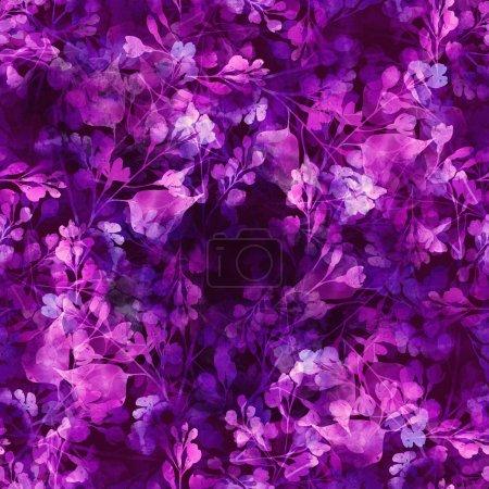 Photo pour Dessin numérique et texture aquarelle - empreintes des branches, des membres lilas - motif sans couture dessiné à la main - œuvre d'art mixte - image libre de droit