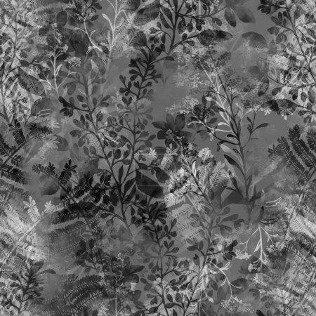 Photo pour Silhouettes aquarelles empreintes d'herbes et de fleurs Provence - motif sans couture dessiné à la main - œuvres d'art numérique mixte pour - image libre de droit