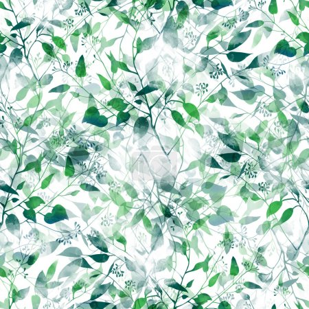 Photo for Watercolor imprints of eucalyptus leaves silhouette - hand drawn seamless pattern - digital mixed media artwork for textiles, - Royalty Free Image