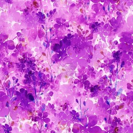 Photo pour Dessin numérique et texture aquarelle. empreinte des lilas et des branches. motif sans couture dessiné à la main. techniques mixtes numériques - image libre de droit