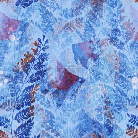 Photo pour Monde fantomatique sous-marin. empreintes raster. motif sans couture - œuvres d'art mixtes pour textiles, tissus, souvenirs, emballages - image libre de droit