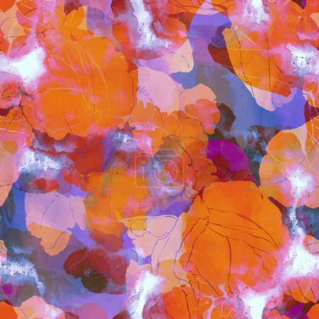 Photo pour Empreintes iris. motif sans couture. numérique et aquarelle mixte mode floral motif de collage boho pour les textiles, tissus, souvenirs, emballage, cartes de vœux, scrapbooking. cadre floral - image libre de droit