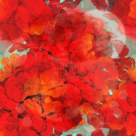 Photo pour Motif sans couture. numérique et aquarelle mixte mode floral motif de collage boho pour les textiles, tissus, souvenirs, emballage, cartes de vœux, écran d'éclaboussure, scrapbooking. empreintes coing - image libre de droit