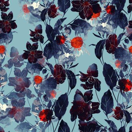 Photo pour Impression fantastique bouquet de peinture. motif sans couture peint à la main. dessin numérique et texture aquarelle. fond pour décor et design textile. papier peint botanique. boho chic mixte cadre floral - image libre de droit
