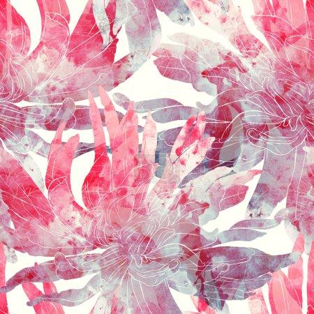 Photo pour Empreintes de chrysanthème sauvage. motif sans couture peint à la main. dessin numérique et texture aquarelle. fond pour le textile - image libre de droit