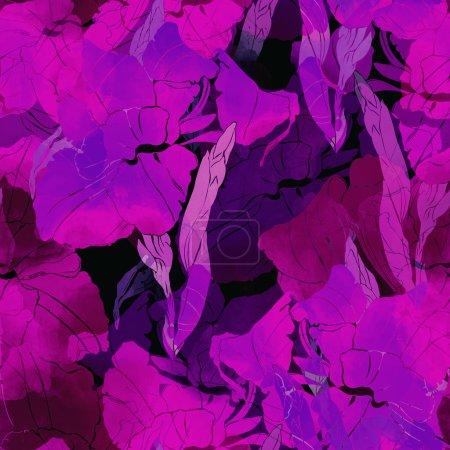 Blooming gladiolus seamless pattern