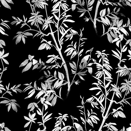 Silhouette of branch with leaves seamless pattern