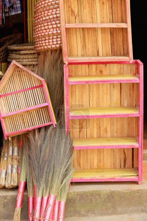 Traditional hand made wooden cupboards-wicker tray...