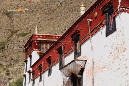 White and red wall of Sera gonpa-monastery. Tibet. 1298
