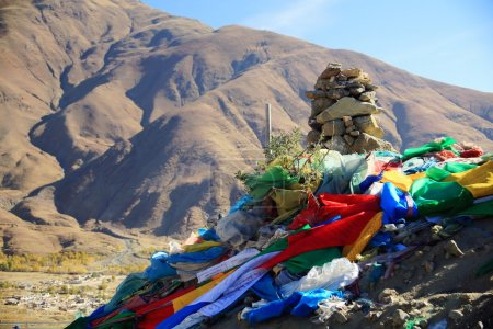 Frayed prayer flags in Nachan La-Pass. Lhasa pref.-Tibet. 1457