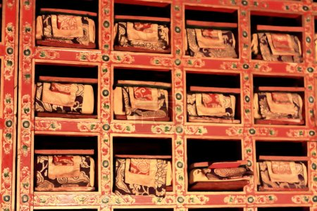Buddhistische Schriftrollen Bibliothek. sakya-tibet. 1874