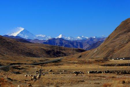 Photo for L.to R. Lhotse 8516ms. Chomolungma-Holy Mother-Everest 8844 ms. Nuptse W.Peak 7861 ms. Changtse N.Peak 7543 ms. Khumbutse 6665 ms. Lingtren 6714 ms. All seen from Friendship Highway km.5115. Tibet. - Royalty Free Image