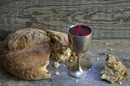 Bread and wine holy communion sign symbol...
