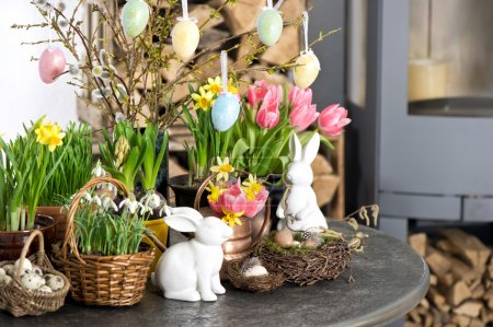 Easter decoration flowers eggs. Tulips, snowdrops, narcissus
