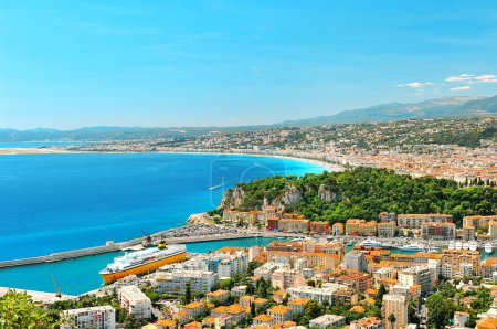Photo for Panoramic view of Nice, Mediterranean Sea, France, French riviera - Royalty Free Image