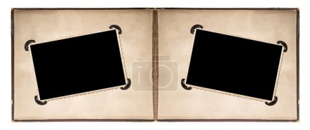 Photo for Photo album page with retro style frames and corners isolated on white background - Royalty Free Image