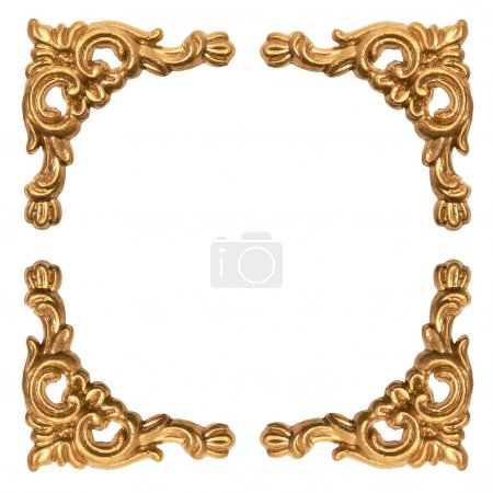 golden elements of carved baroque frame isolated on white