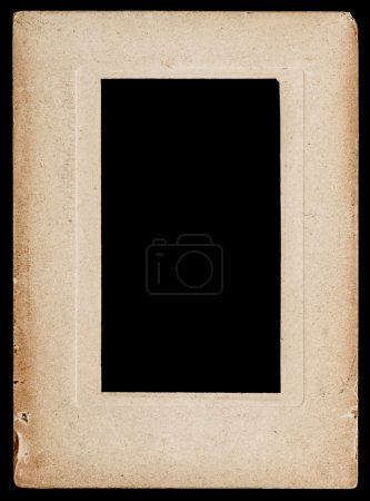 Aged paper photo frame isolated on black
