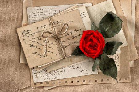 Foto de Flor rosa roja y las letras antiguas. postales vintage y papeles. libro de recuerdos - Imagen libre de derechos