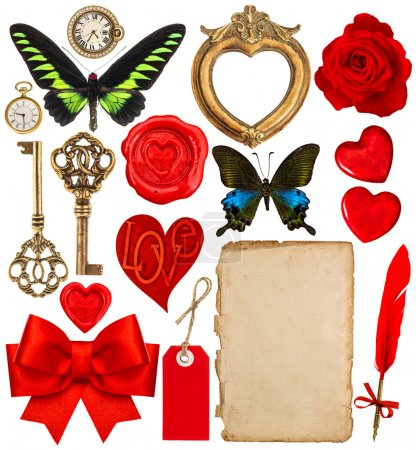 Valentines Day scrapbooking. Red hearts, photo frame, paper