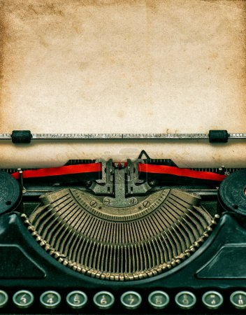 Photo for Vintage typewriter with aged textured grungy paper - Royalty Free Image