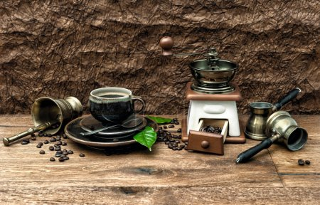 Photo for Nostalgic still life with cup of coffee and antique accessories. Vintage style toned image - Royalty Free Image