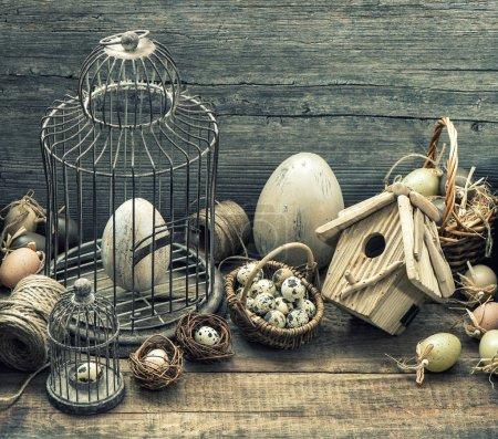 Vintage easter decoration with eggs. Nostalgic still life. Retro