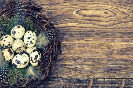 Photo for Easter decoration with birds eggs in nest on rustic wooden background. Vintage style toned picture - Royalty Free Image