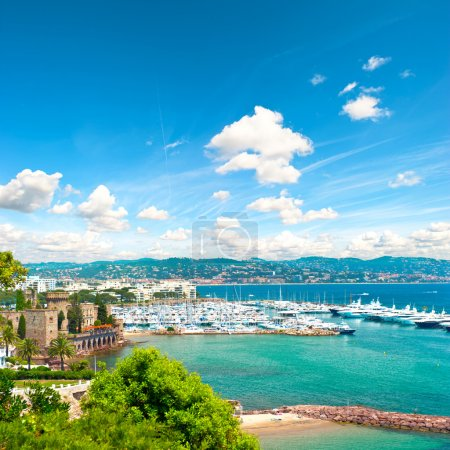 Mediterranean landscape with cloudy blue sky. French riviera