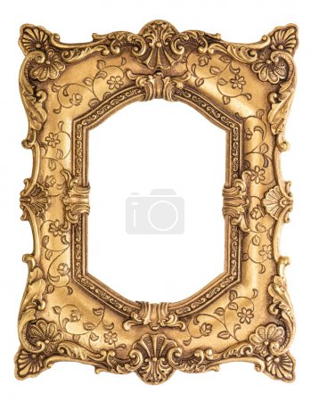 Golden baroque frame isolated on white background