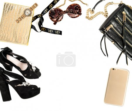 Fashion mock up with business lady accessories. Shopping desktop