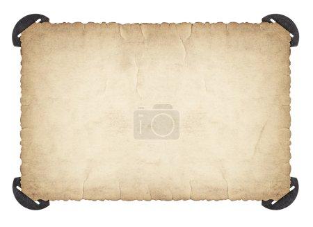 Photo pour Feuille de papier d'occasion isolée sur fond blanc, texture carton grungy - image libre de droit