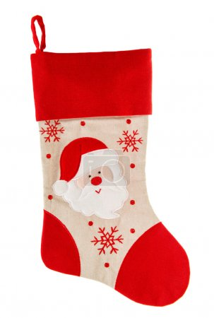 Christmas stocking. Red sock. Santa Claus and Snowflakes