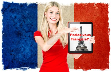 French language learning concept. Young woman France