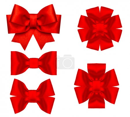 Red silk ribbon bow decoration isolated on white