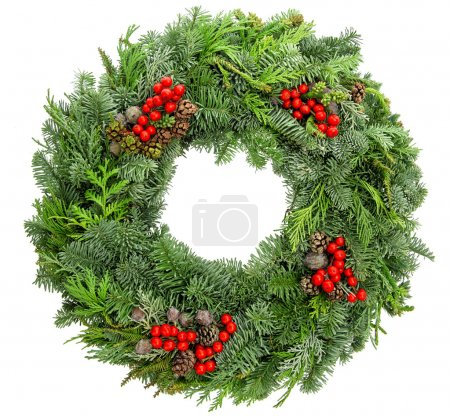 Photo for Christmas wreath from fir, pine, spruce twigs with cones and red berries isolated on white background - Royalty Free Image