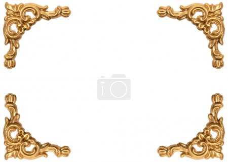 Photo for Golden corners of carved baroque style picture frame on white background - Royalty Free Image
