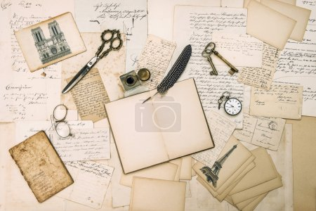 Antique accessories, Paris postcards, old letters