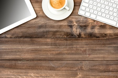 Photo for Digital devices and gadgets. Office desk with coffee. Workplace - Royalty Free Image