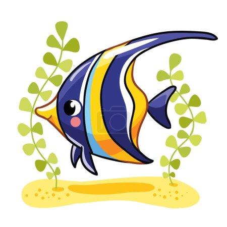 Illustration pour Mignon poisson zanclus dans l'illustration vectorielle. Poisson de récif tropical isolé sur fond blanc. Enfants poissons . - image libre de droit