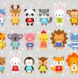 Set of vector animals in cartoon style on a gray b...