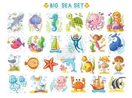 Photo pour Big Marine ensemble d'illustration vectorielle sur le thème marin. Collection d'animaux marins en style dessin animé. Photos tropicales d'été. Illustration vie marine - image libre de droit